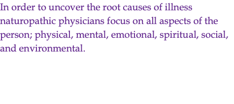In order to uncover the root causes of illness naturopathic physicians focus on all aspects of the person; physical, mental, emotional, spiritual, social, and environmental.